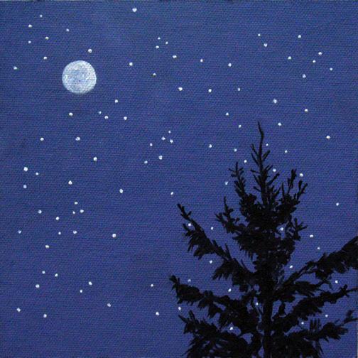 "Morning Moon ~ 6"" x 6""  Oil on Canvas Panel"