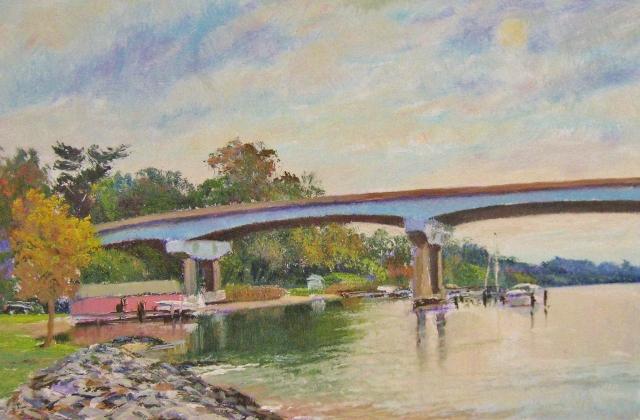 17. Severn River Bridge, 8x12 oil on panel