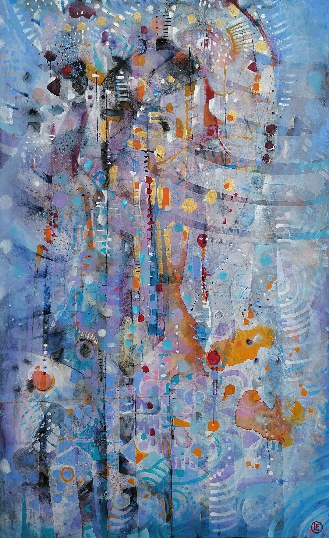 Sonidos de Andrómeda II técnica mixta s/tela 145 x 90 cms / 57 x 35.5 inches