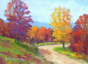 Road into Windsor State Park, MA, 8 x 10 Oil