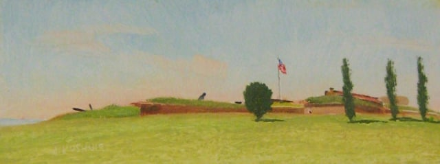 20. Morning, Ft. McHenry Study, 3x8 oil on panel