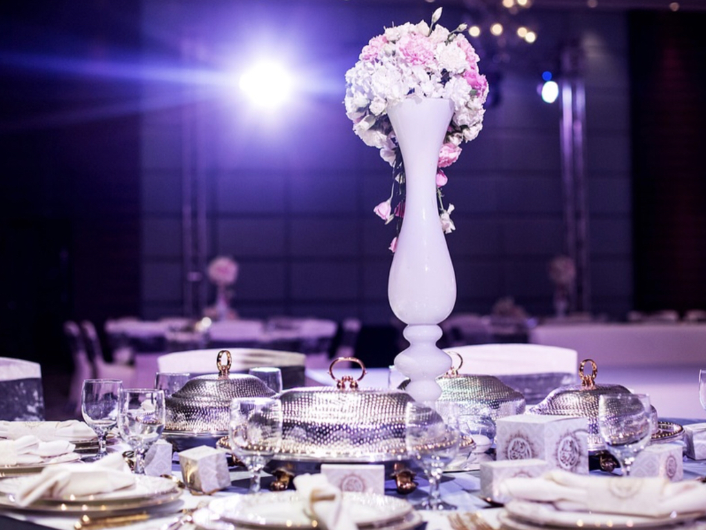Centerpiece and decor at reception