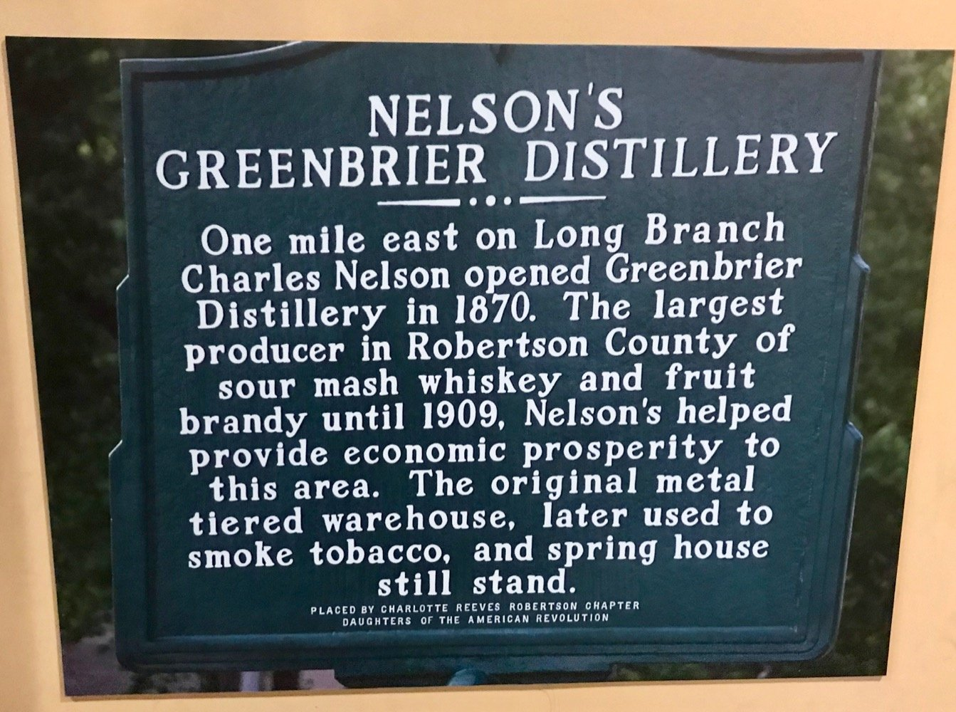 Nelson's Green Brier Distillery Historical Marker
