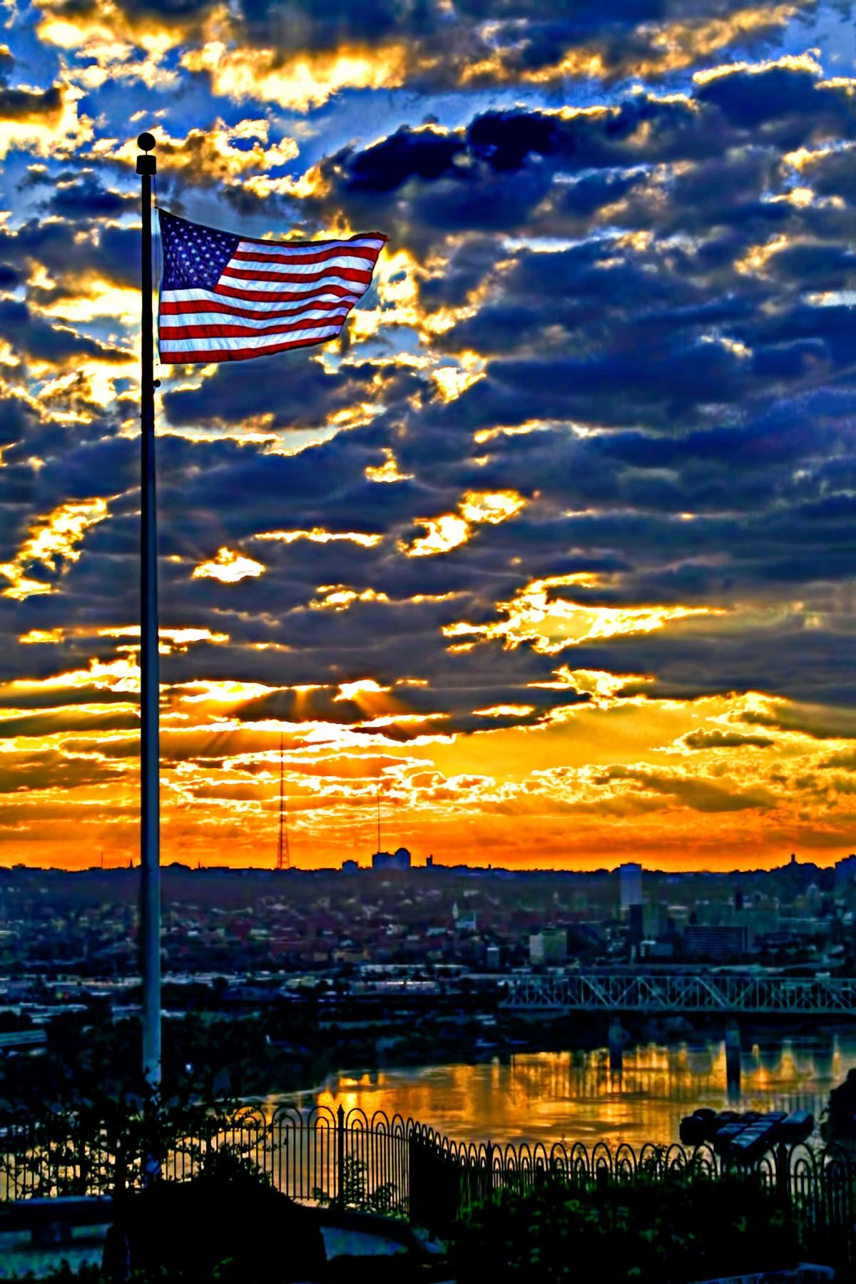 STAR SPANGLED BANNER - One of the best views of downtown Cincinnati, northern Kentucky and the Ohio River is from Mt. Echo Park. On this particular morning, all that was just the background. Glad to be an American!