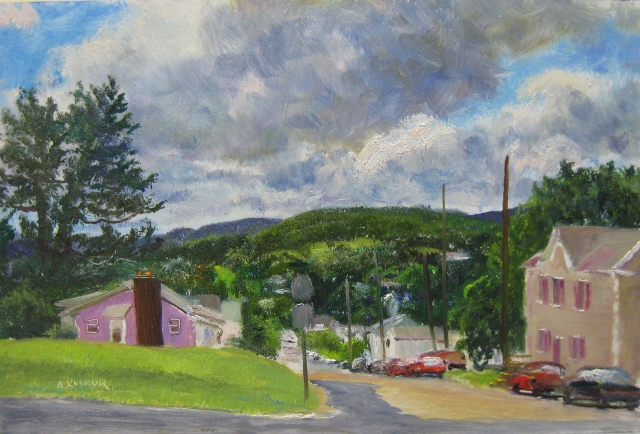 78. Sunday in Frostburg, MD, 8x12 oil on panel