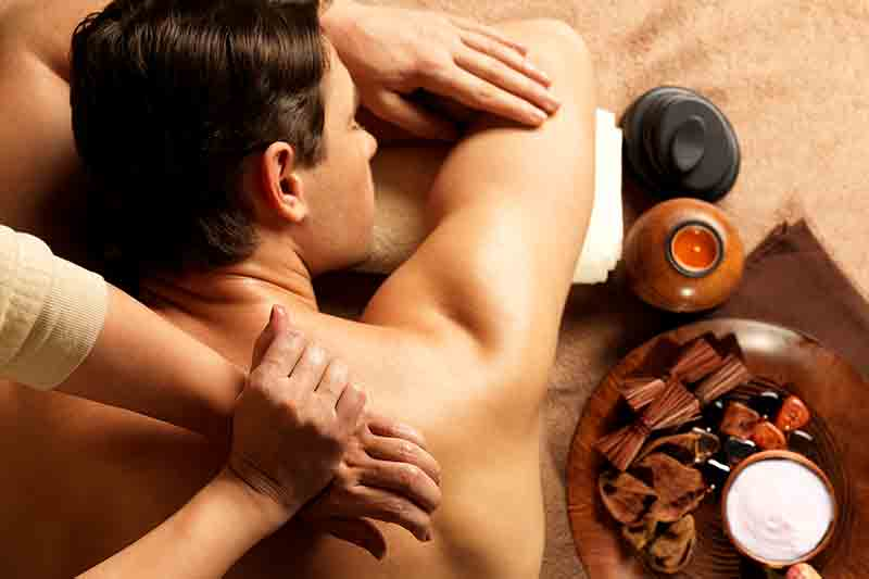 Man having a massage in spa