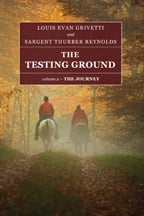 """The Testing Ground — The Journey"" book cover, showing two men riding on horseback in a forest"