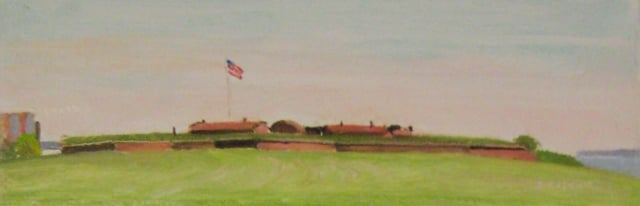 21. Afternoon, Ft. McHenry Study, 3x8, oil on panel
