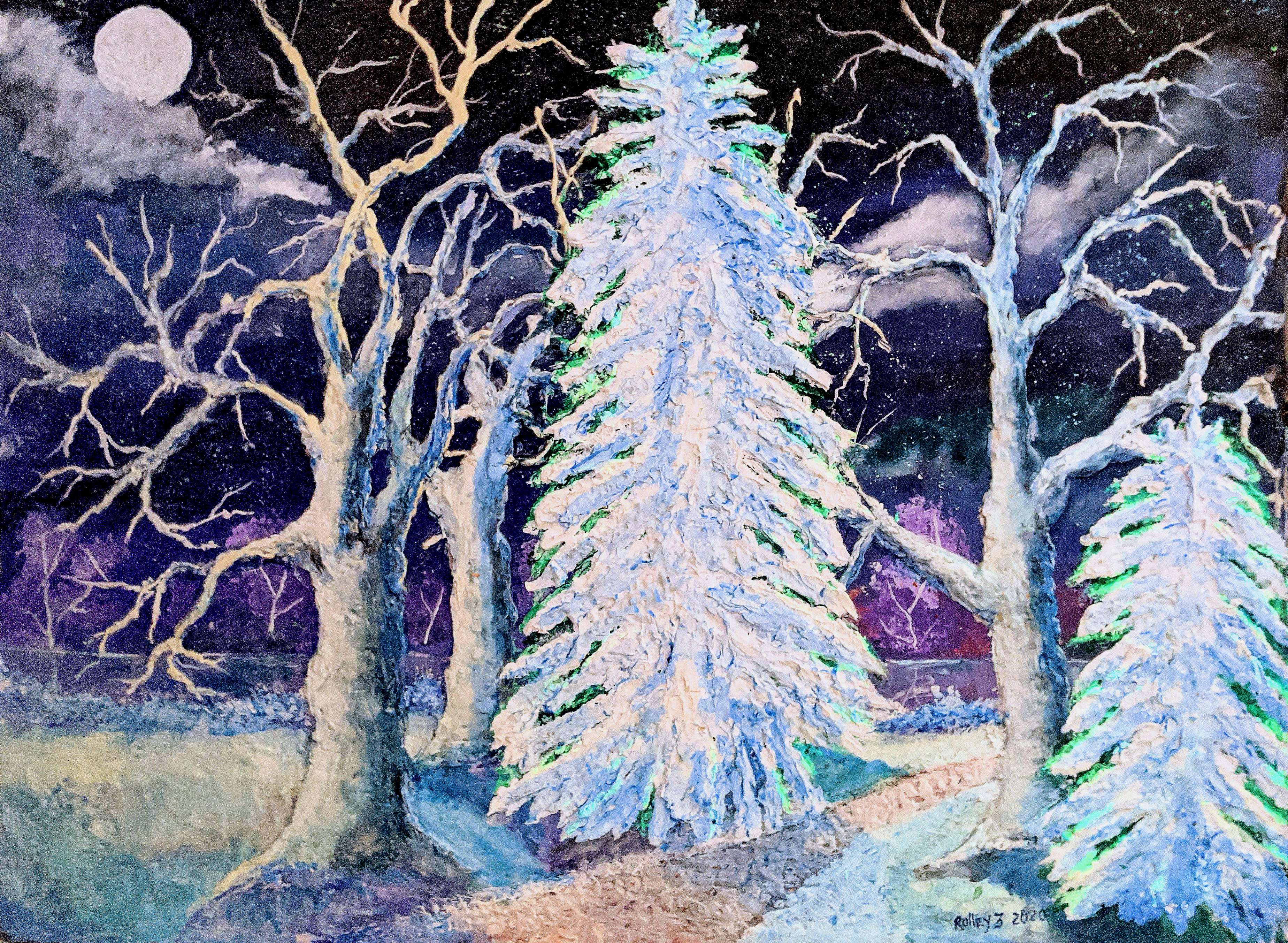 THE WINTER PATH  30x40 $900  HIGHLIGHTED WITH GLOW IN DARK LUMINESCENT PAINT