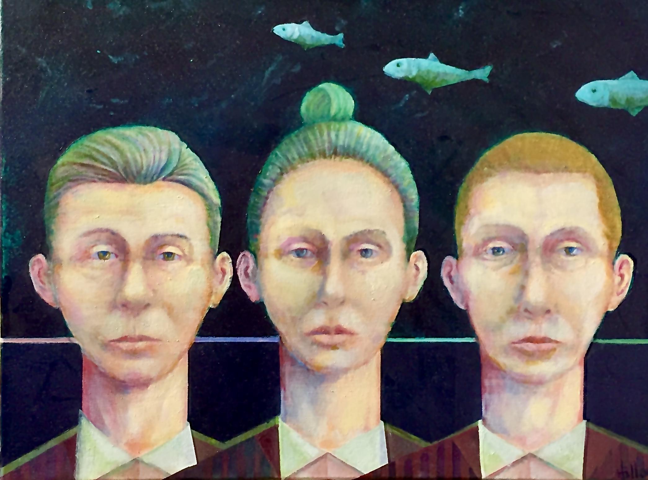 "Three Fish oil on canvas 20"" X 16"" $450."