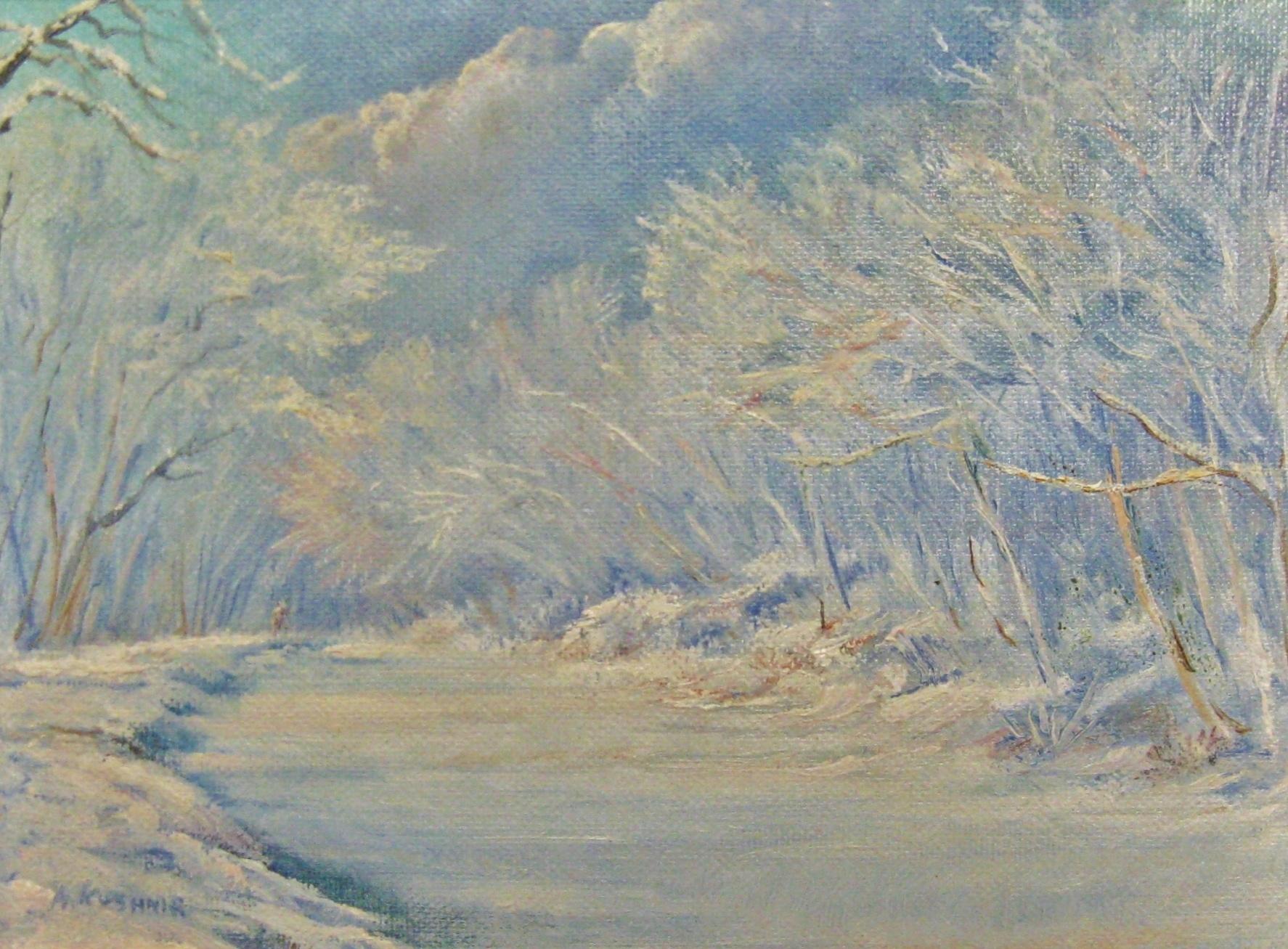 "Andrei Kushnir, Snowy Canal, 6.5""x8.5""Oil"