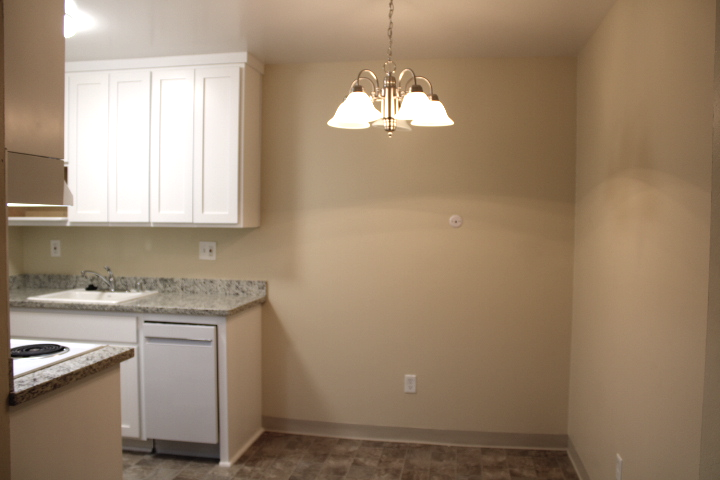 Kitchen eating area with new chandelier