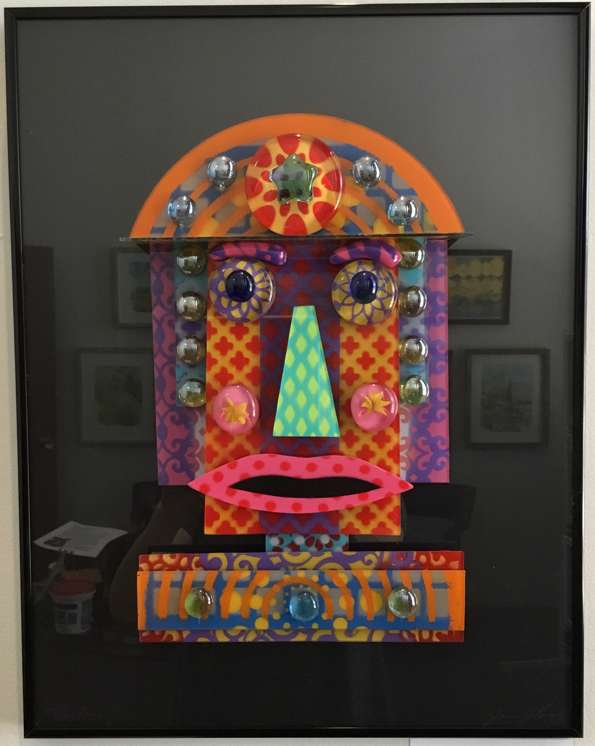 "Female Fun Face w/ Hat Glass Construction 14"" X 18"" $250."