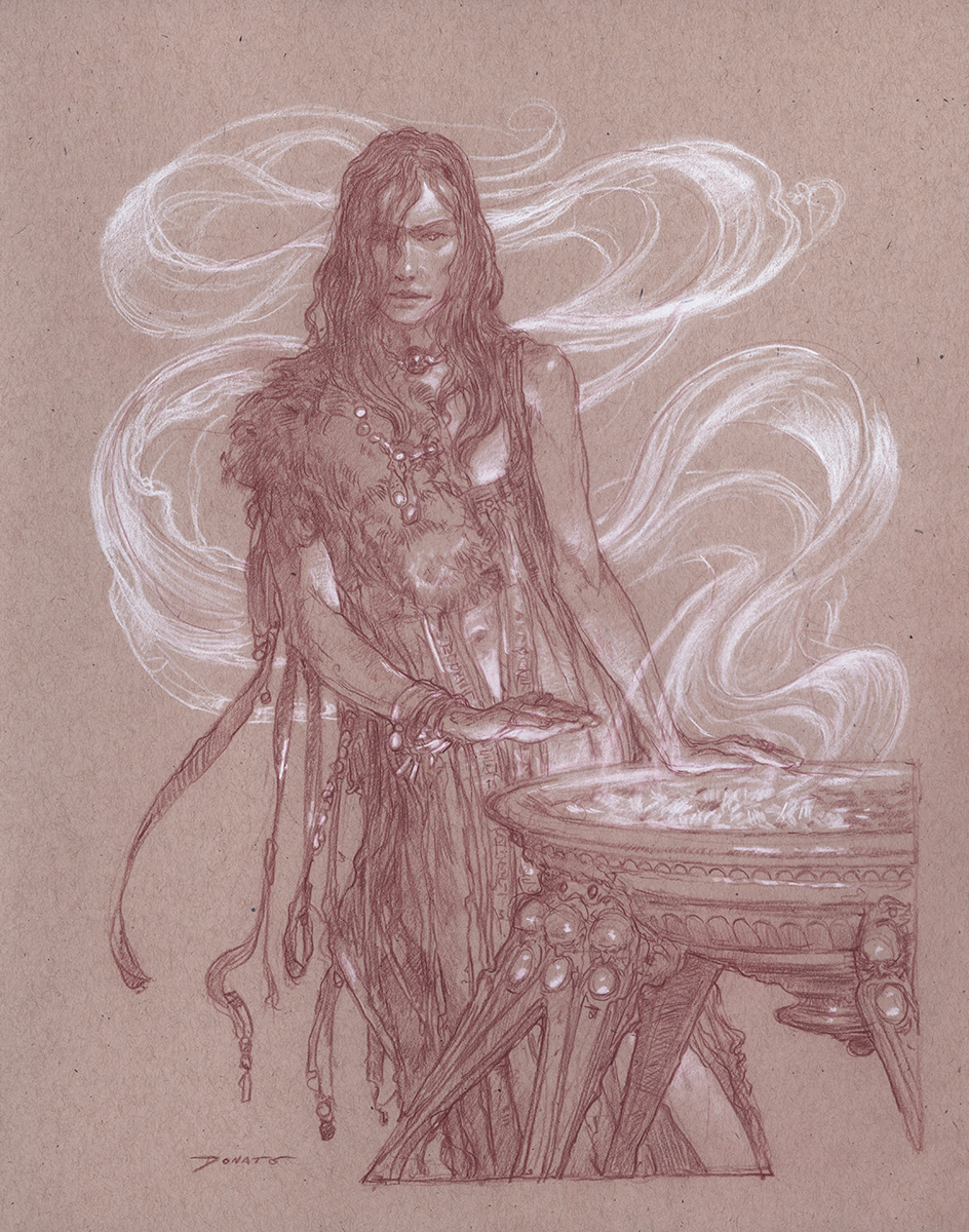 "Warm Yourself With My Fire 14"" x 11""  Watercolor and chalk on toned paper available for purchase"