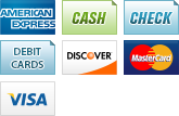 We accept American Express, Cash, Check, Debit Cards, Discover, MasterCard and Visa.||||