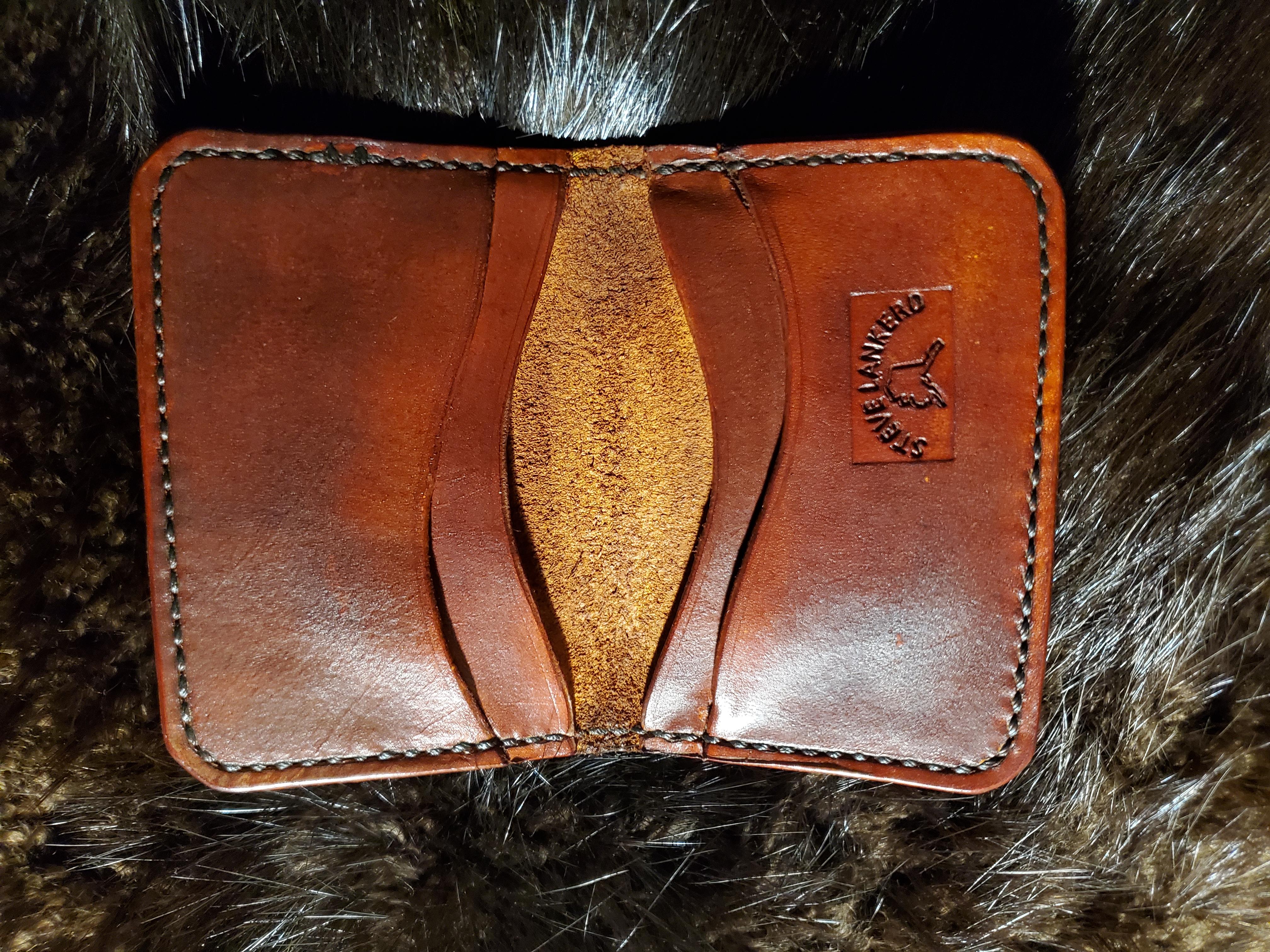 (Inside) 6 pocket minimalist wallet, Hand tooled, hand stitched... $75.00