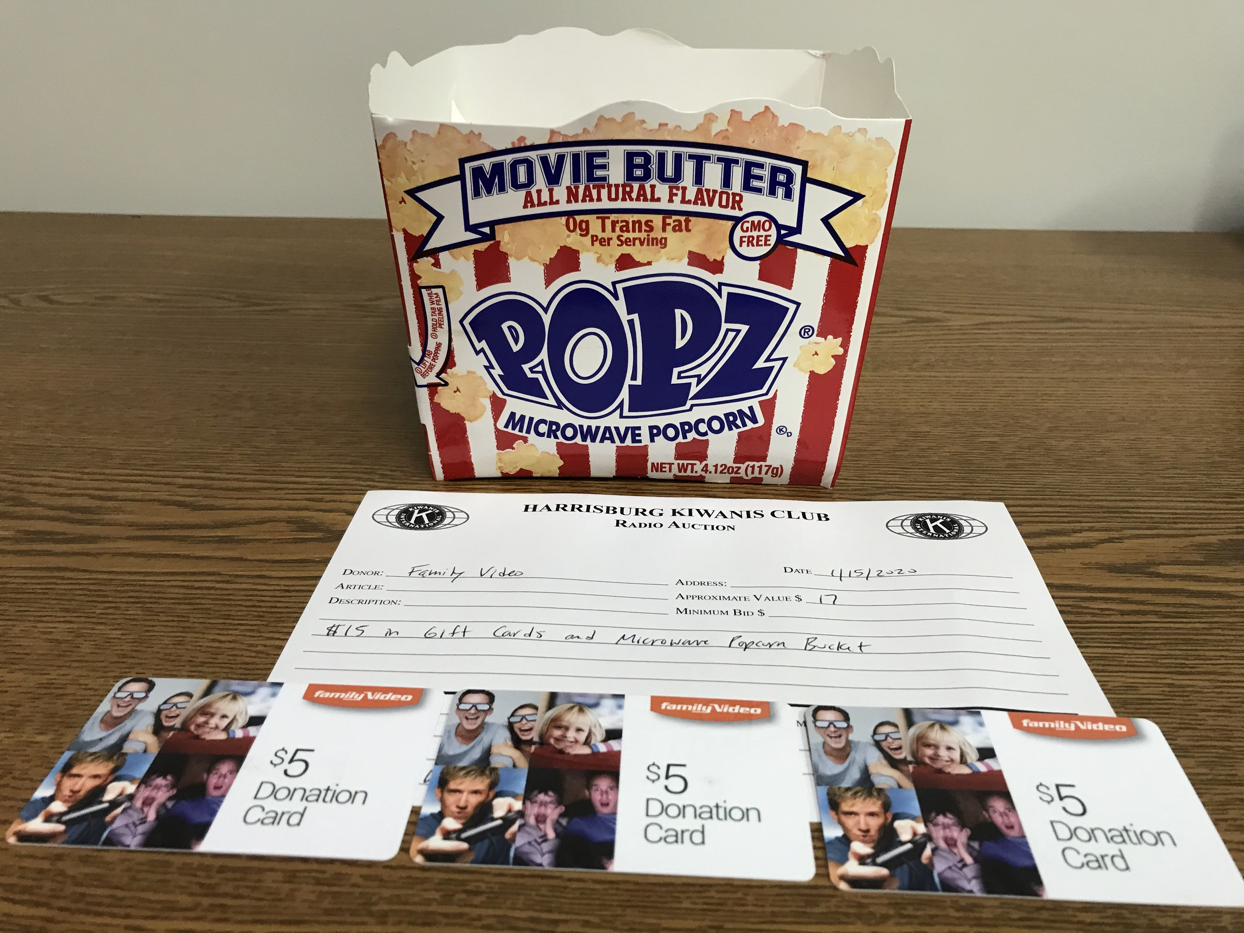 Item 302 - Family Video $15 in Gift Cards and Microwave Popcorn Bucket