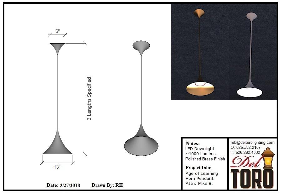 560P-Horn Down-lit Pendant