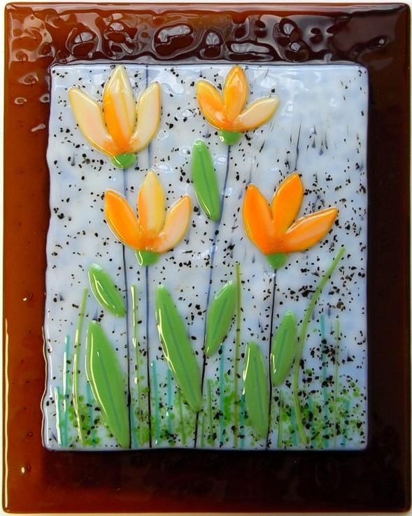 """""""Tulips"""" by Nataliya Guchenia Glass Size - 10""""H X 8""""W $195.00"""