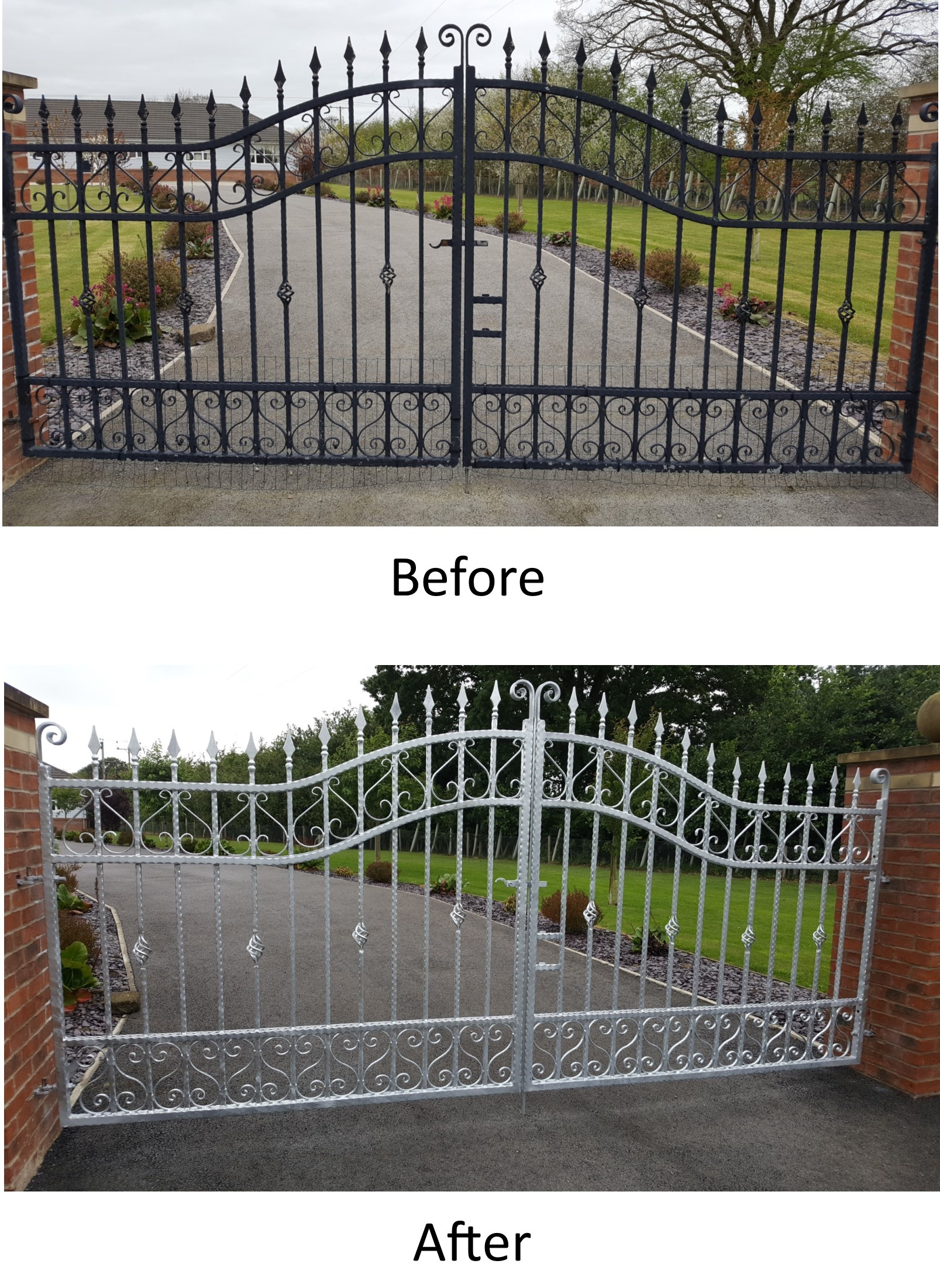 Double gates shot blasted, galvanised & re-fitted.