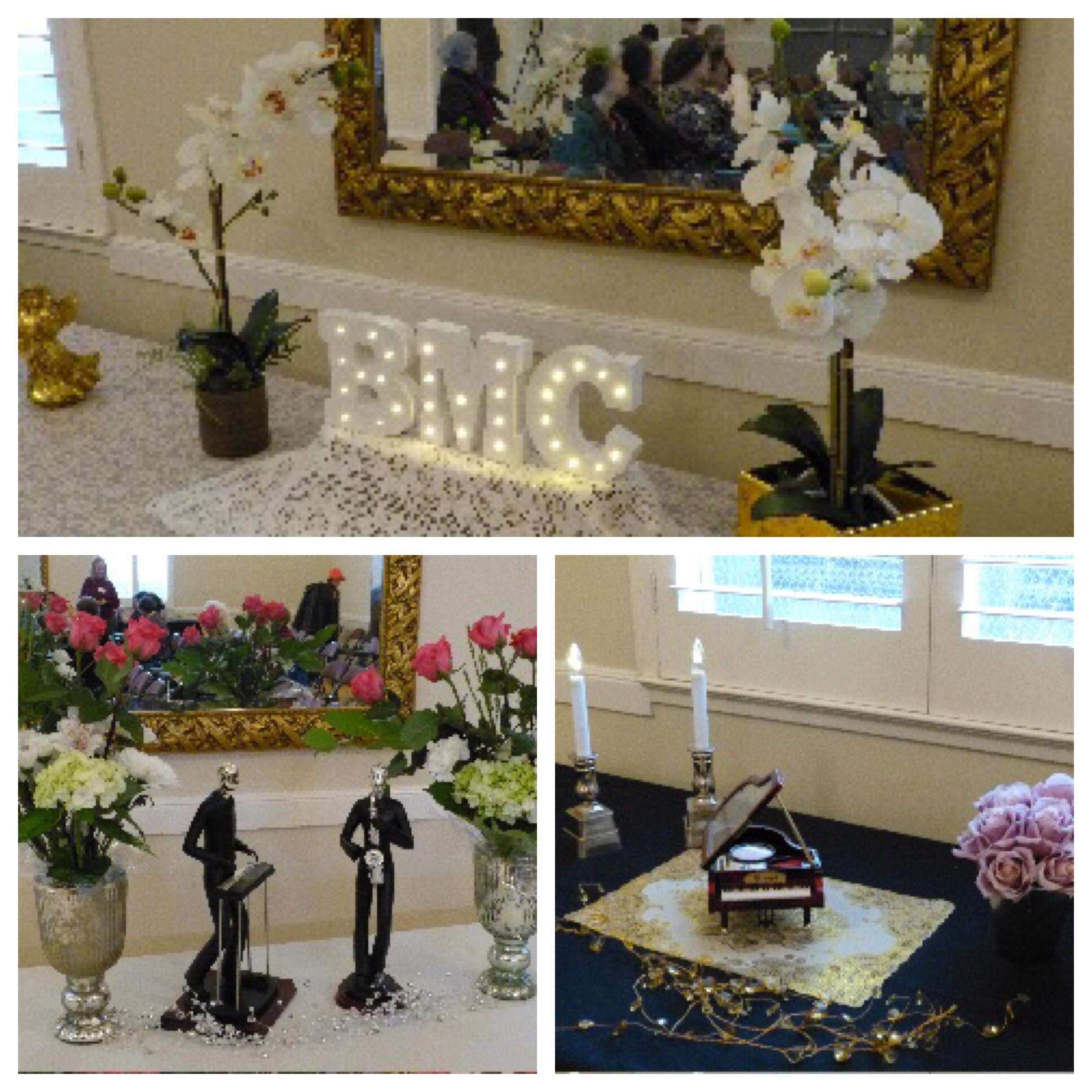 Photo collage of BMC decorations.