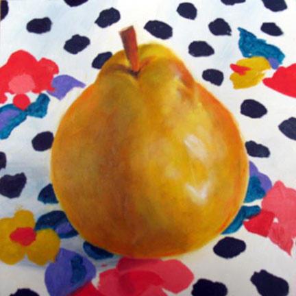 "Polka Dot Pear - 6""x6"" Oil on Panel SOLD"