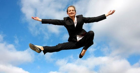 Woman who has just created her new life after divorce! She is so happy instead of Depressed that she is flying.