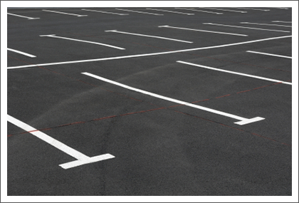 Parking lot with white lines||||