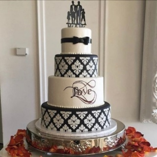 Black And White Cake Wedding Cake