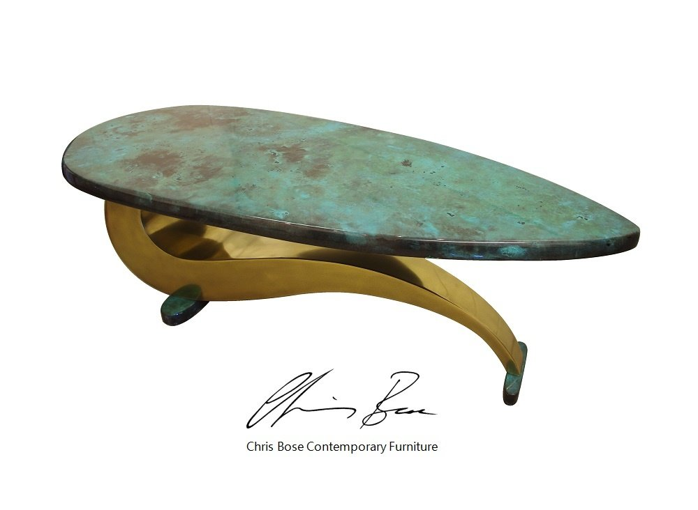 Amazonia finish on a table top. Artistic Metals
