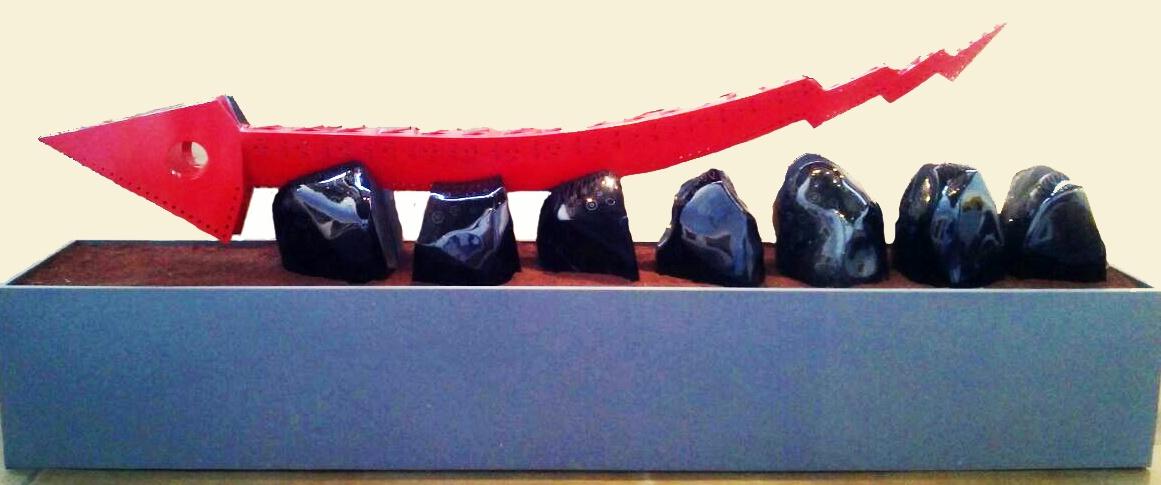 Encuentros en Silencio Obsidiana - Acero al carbón c/corte laser, pintura electrostática 150 x 350 x 60 cms.