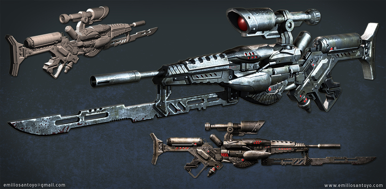 Sci-Fi Rifle. Software used Maya, and PhotoShop.