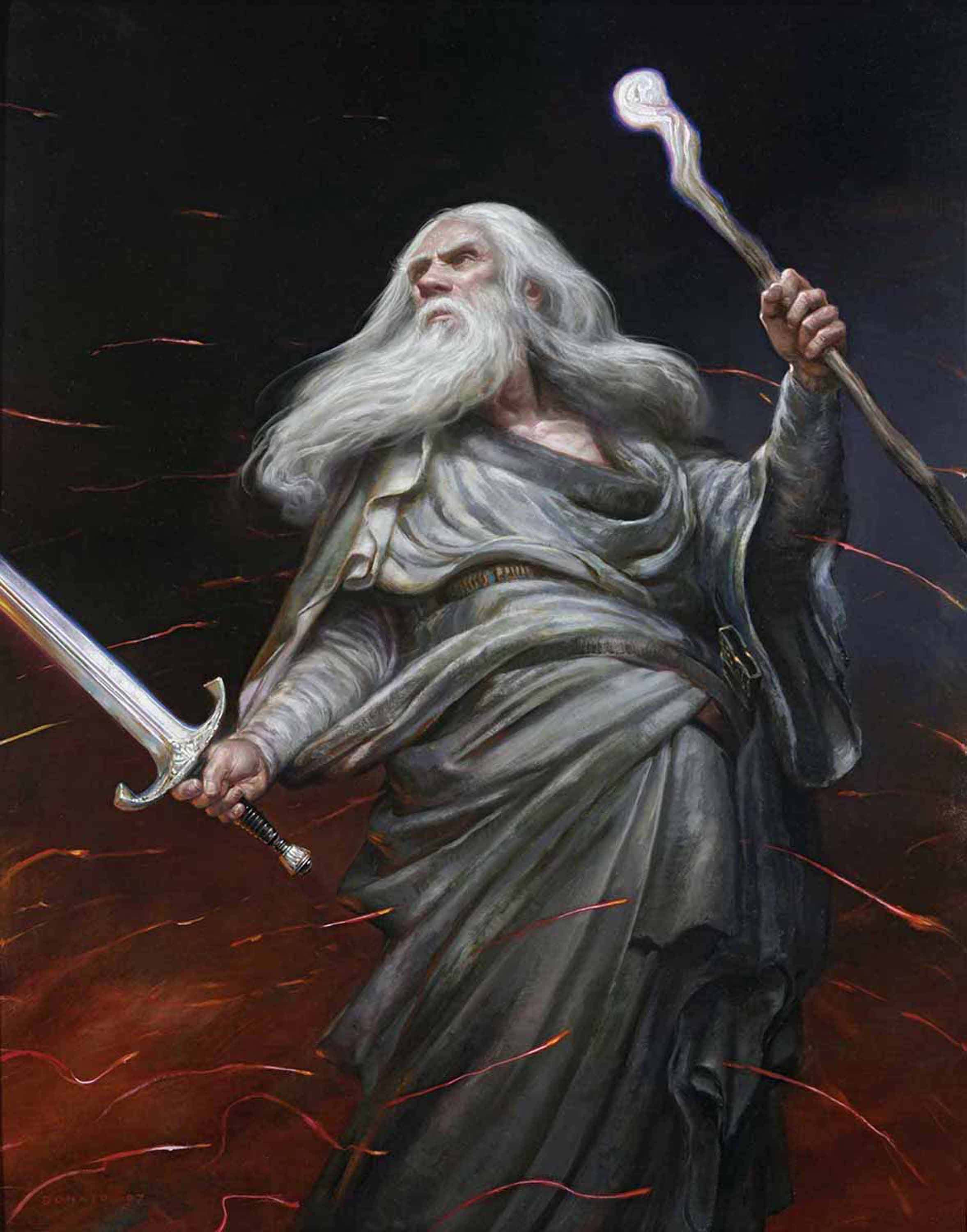 "You Cannot Pass! 36"" x 24"" Oil on Panel  2007 appearing as the cover of Middle-earth: Journeys in Myth and Legend Greisinger Collection"