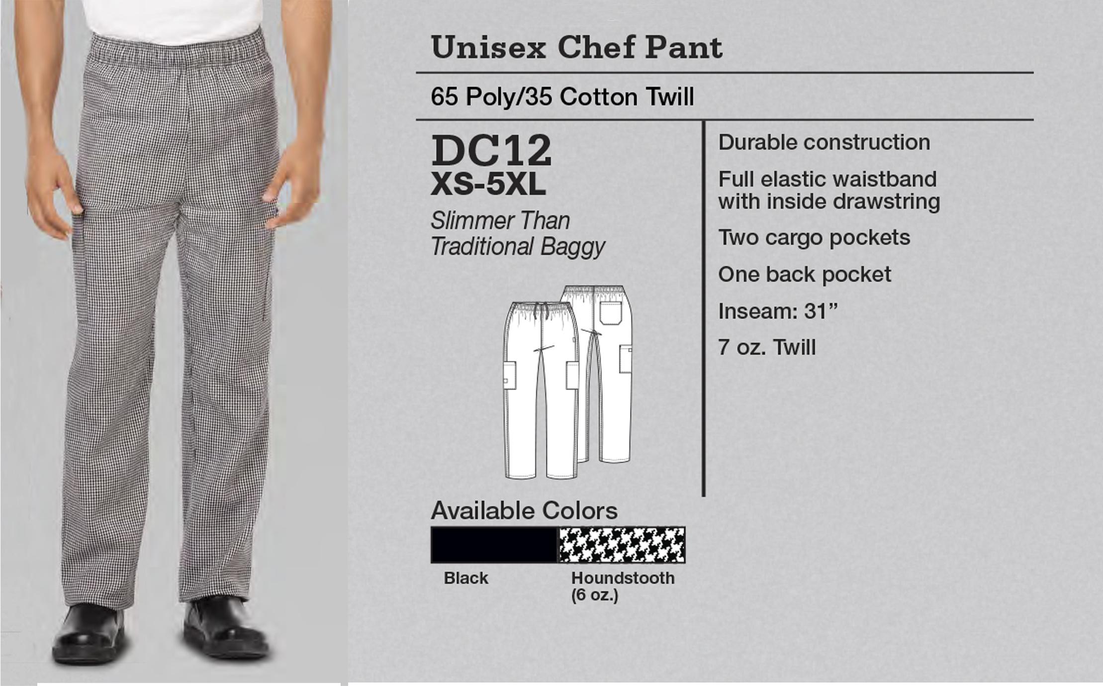 Pantalón de Chef Unisex. DC12.
