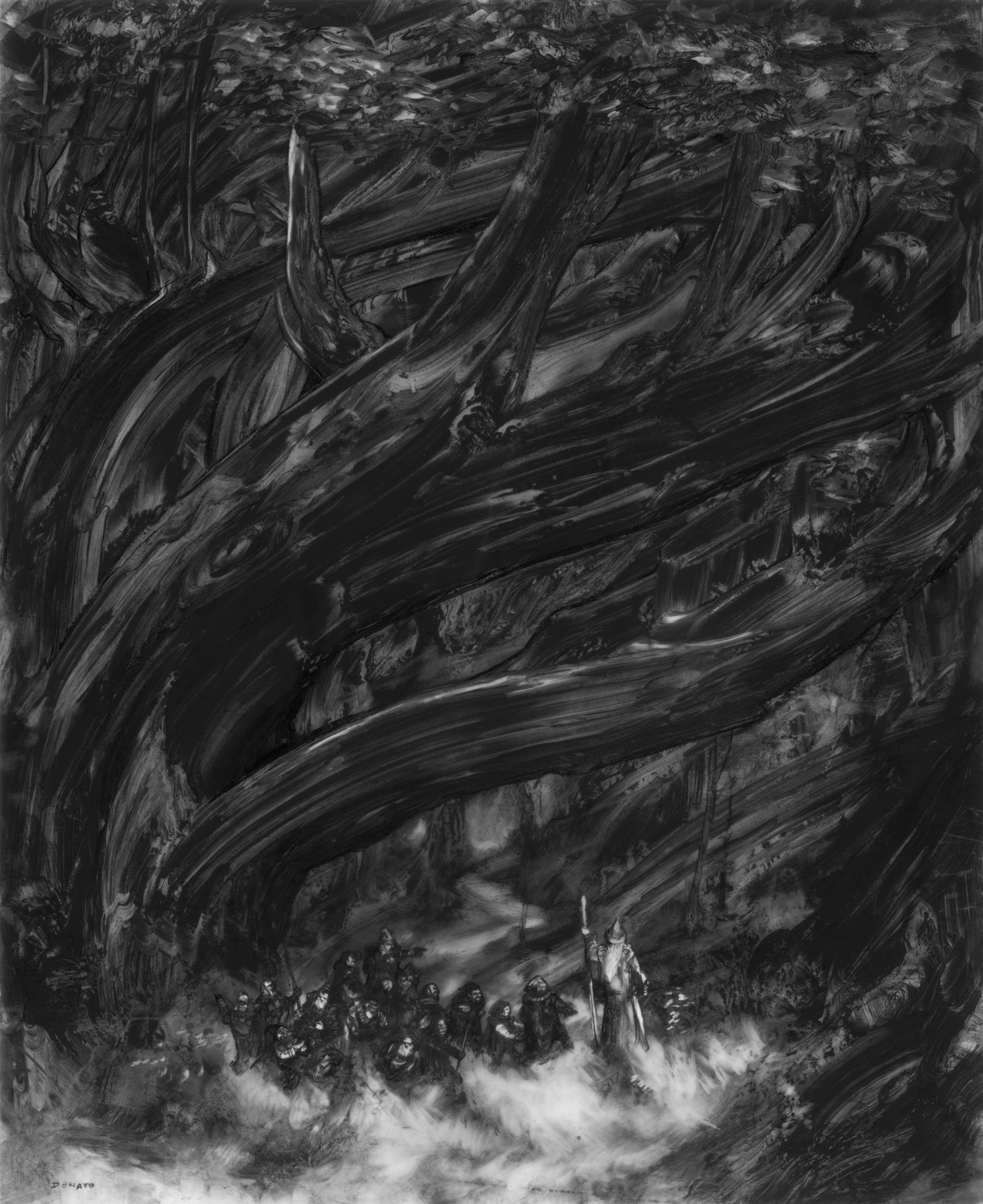 "Edge of Mirkwood Forest 17"" x 14"" graphite pencil and paint 2019 collection of Joshua Patel"