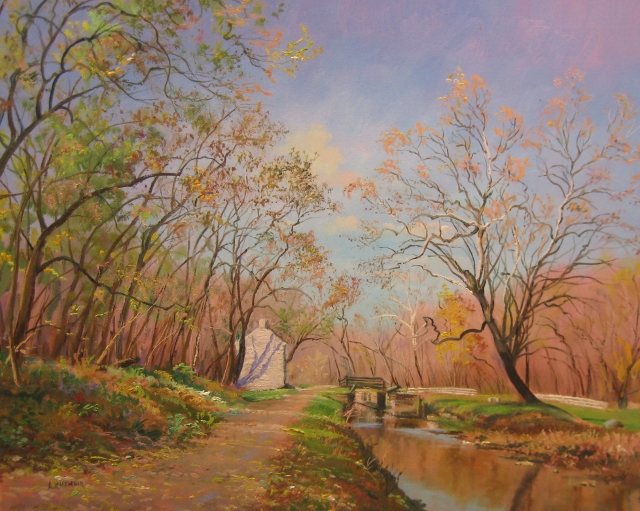 57. The Glories of Autumn, Pennyfield Lock, 16x20 oil on canvas