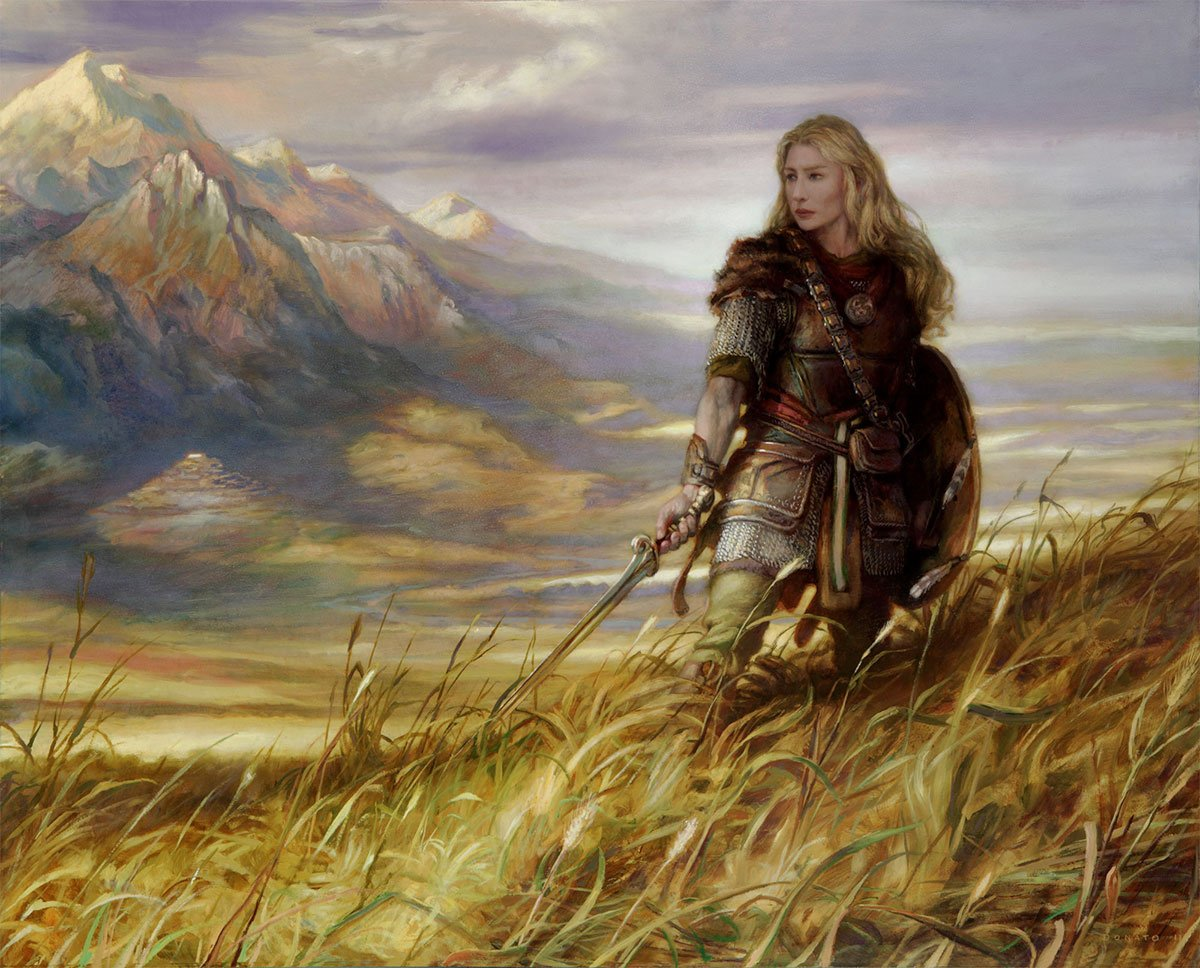 "Eowyn, Defender of Rohan 24"" x 30""  Oil on Panel  2011 portrait of the character from J.R.R. Tolkien's The Lord of the Rings private collection"