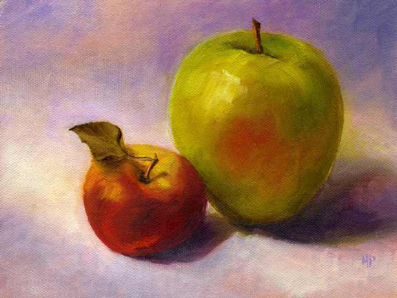 """Guardian Apple - 6""""x8"""" Oil on Canvas Panel  Sold"""