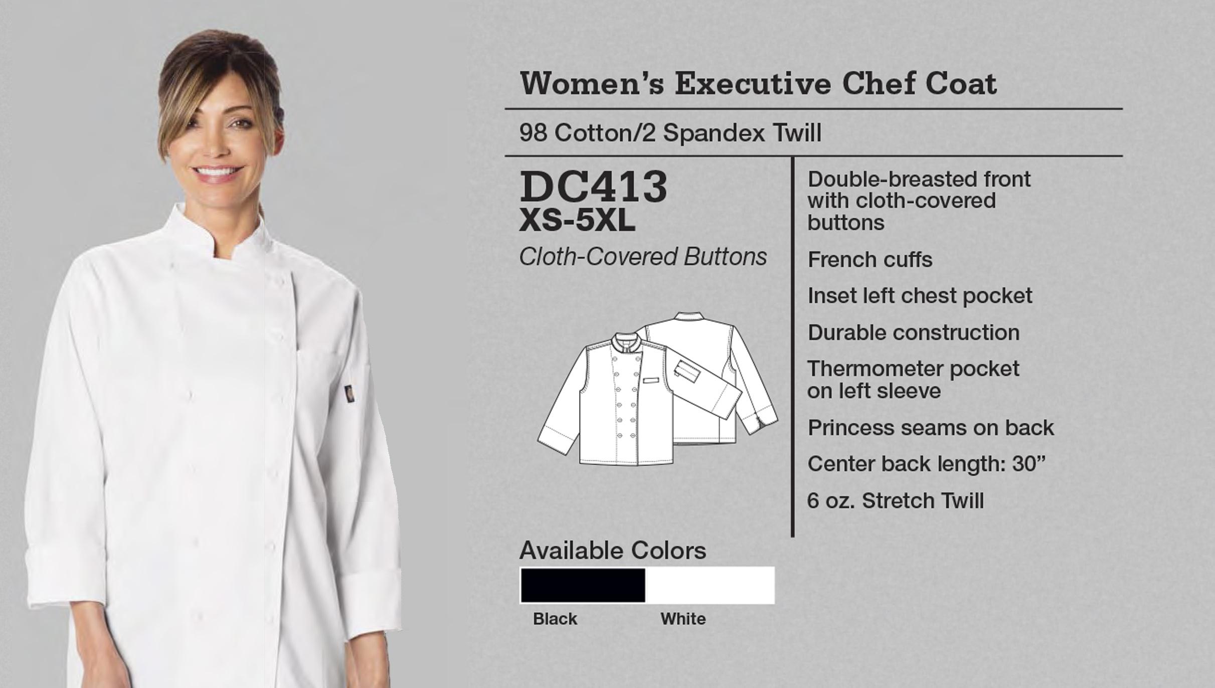 Abrigo de Chef Ejecutivo para Mujer. DC413.