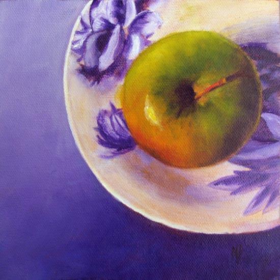 Green Apple On Violet 6 x 6 Oil on panel