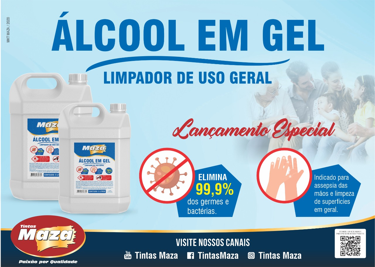 ÁLCOOL EM GEL 70% LIMPADOR USO GERAL ELIMINA 99,9% GERMES BACTÉRIAS