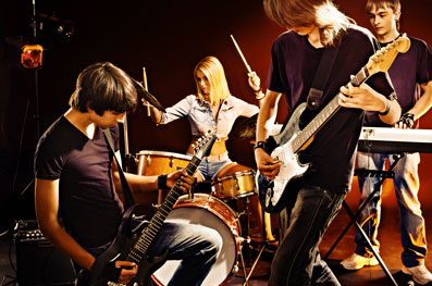 Group people playing guitar