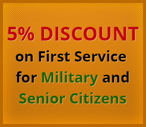 5% Discount on First Service for Military and Senior Citizens