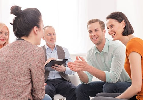 Friendly group is consulting in psychotherapist