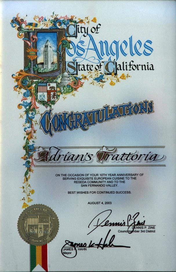10 Year Anniversary Certificate