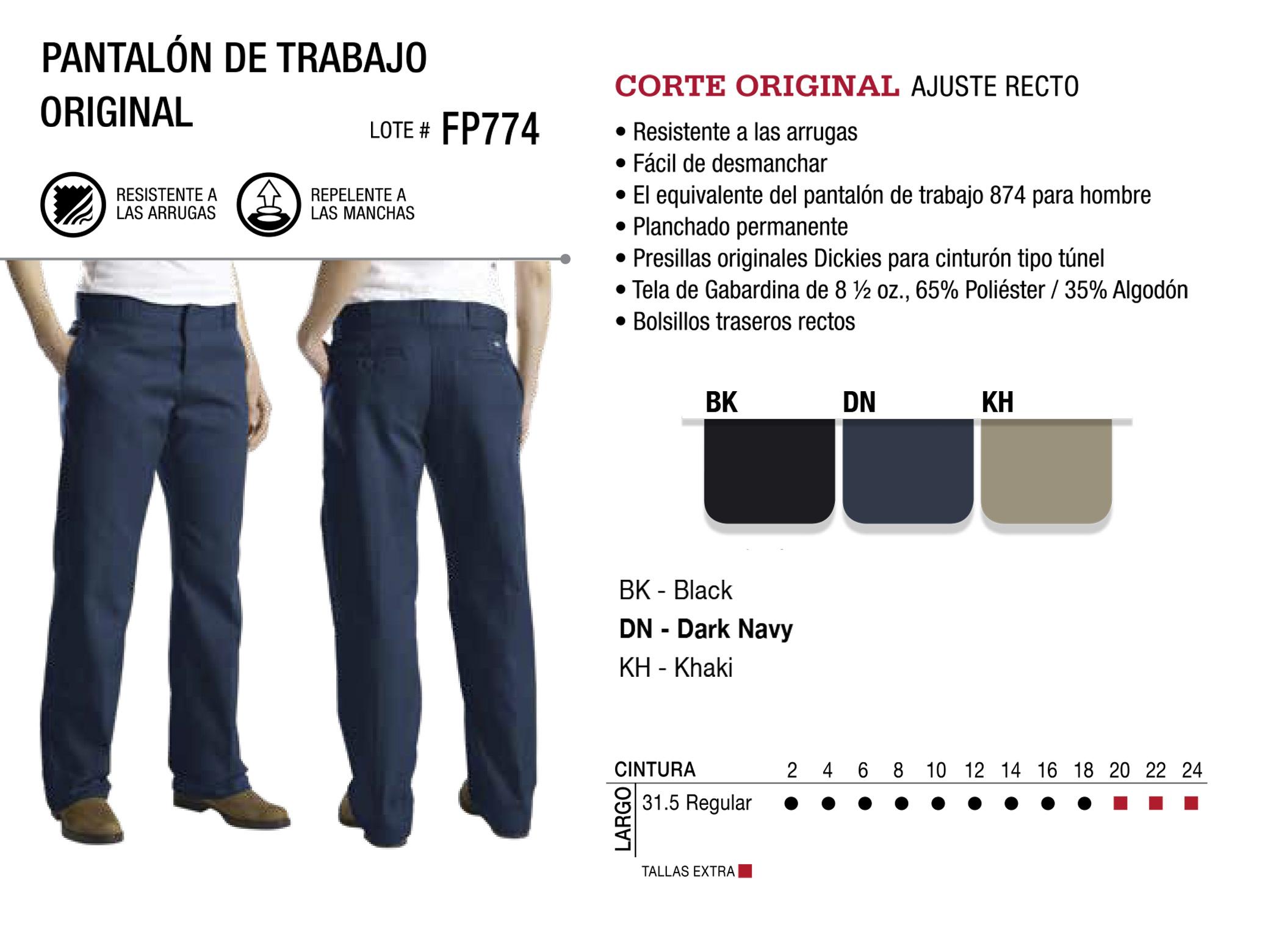Pantalón de Trabajo Original Corte Original. FP774