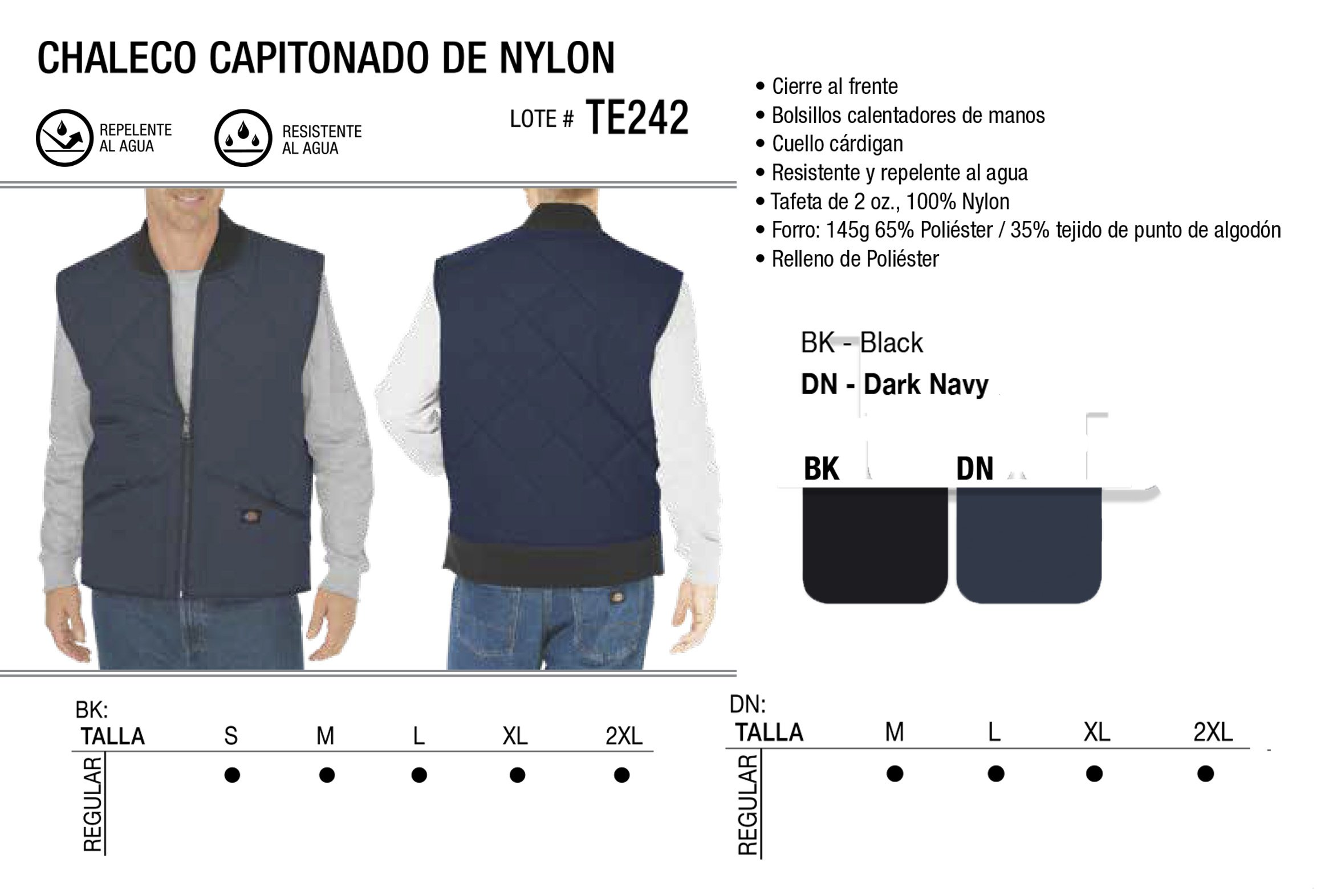 Chaleco Capitonado de Nylon. TE242.