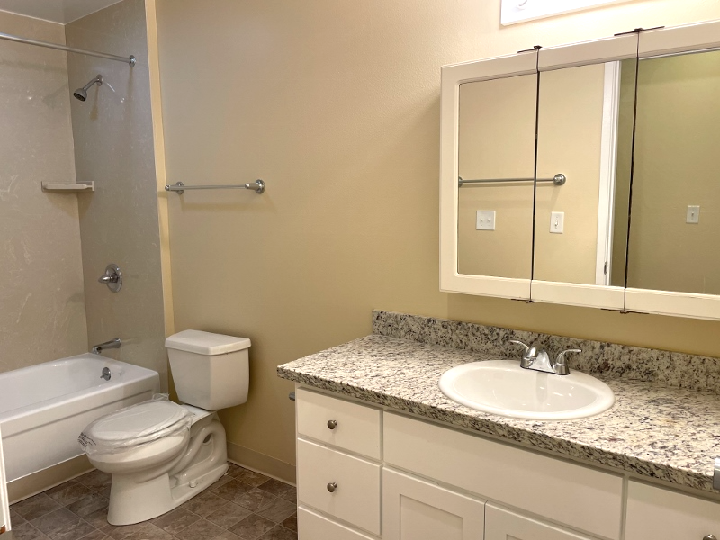 The bathroom has new: cabinets, granite countertop, vinyl, and shower.