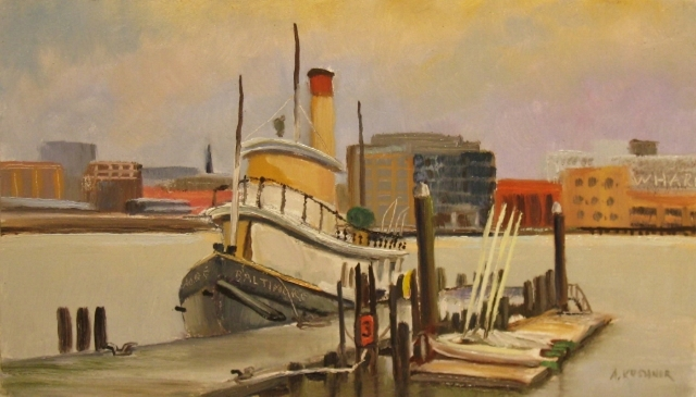 23. Tugboat Baltimore, 7x12 oil on panel