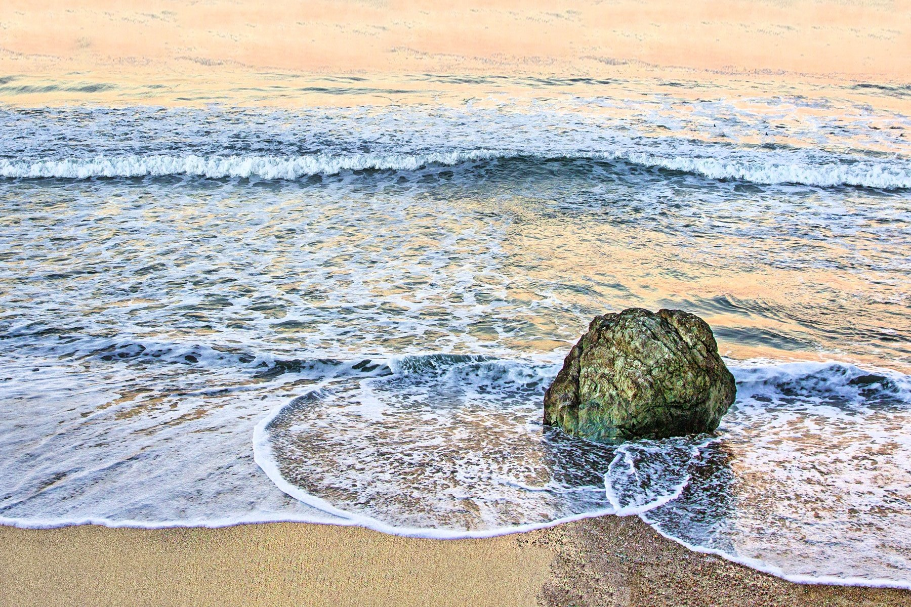 PACIFIC MORNING - A pleasant sunrise one morning somewhere along the Pacific coast. The rock really got my attention.